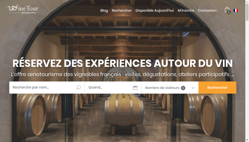 Capture d'écran du site de Wine Tour Booking