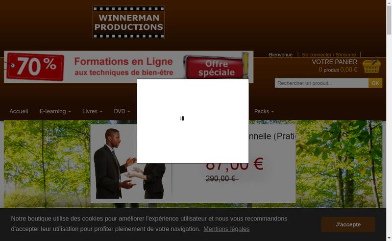Capture d'écran du site de Winnerman Productions