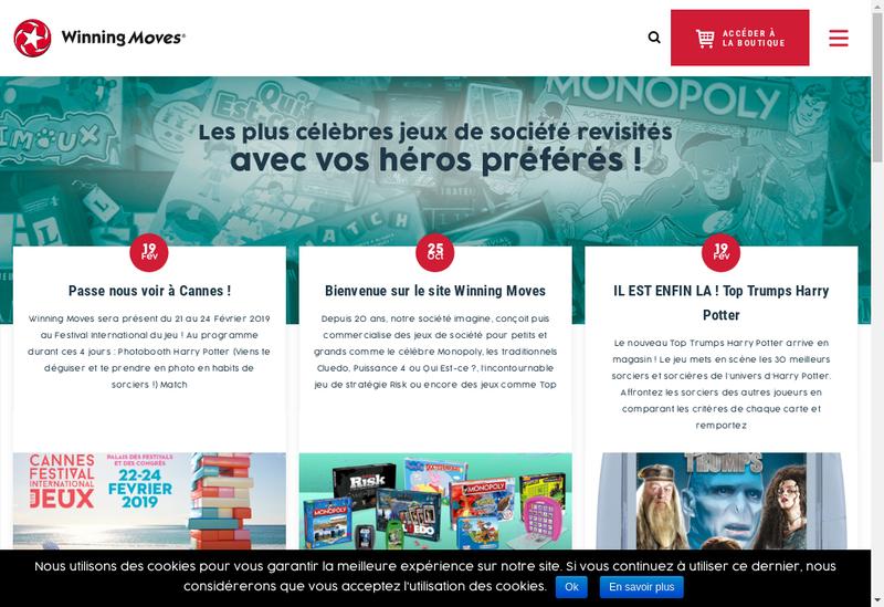 Capture d'écran du site de Winning Moves France