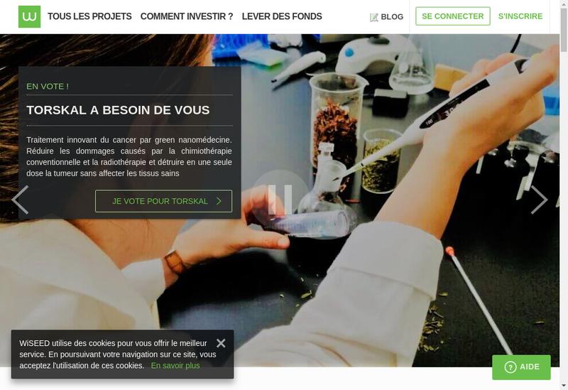 Capture d'écran du site de Wiseed