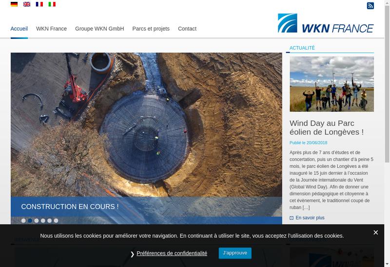 Capture d'écran du site de Wkn France