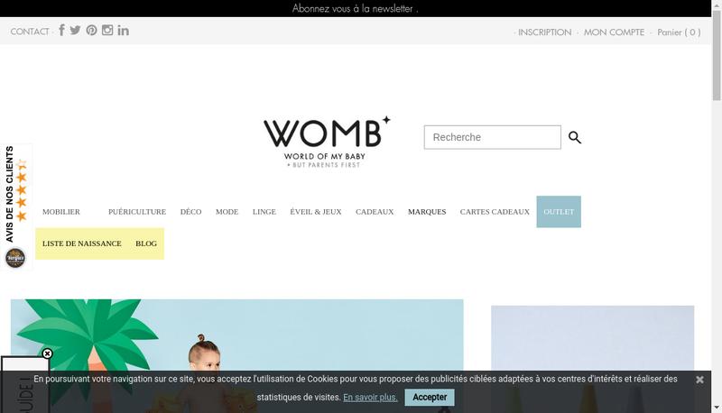 Capture d'écran du site de Womb World Of My Baby But Parents First