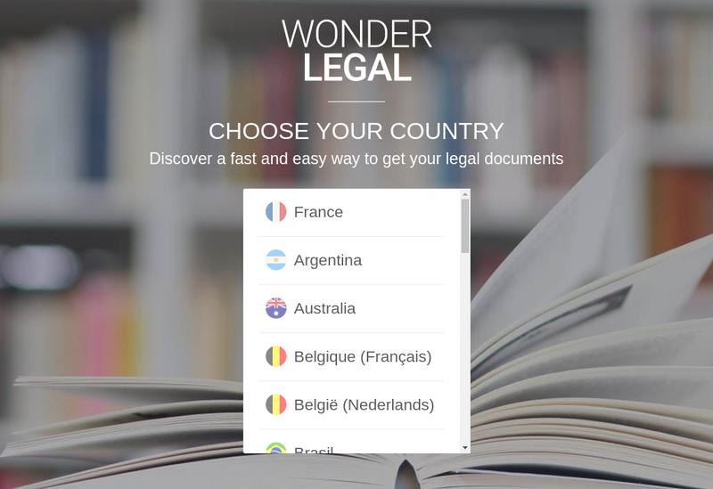 Capture d'écran du site de Wonder Legal