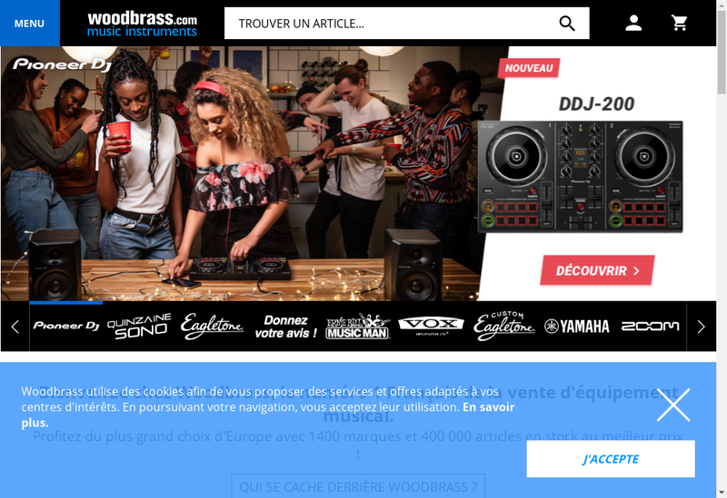 Capture d'écran du site de Woodbrass Com