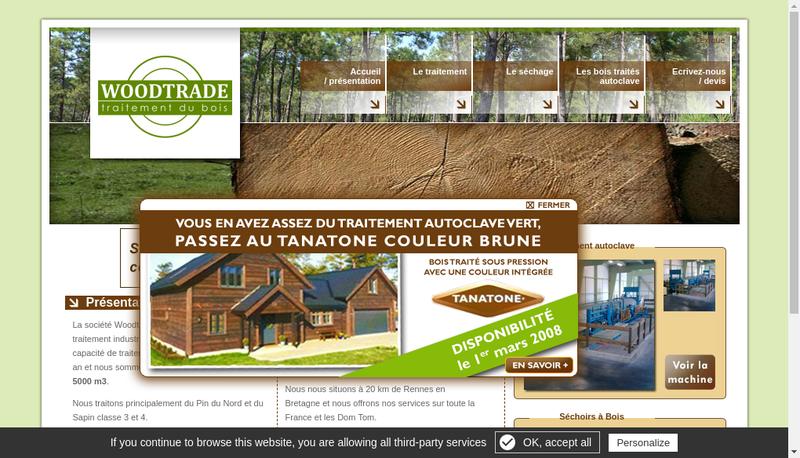 Capture d'écran du site de Woodtrade