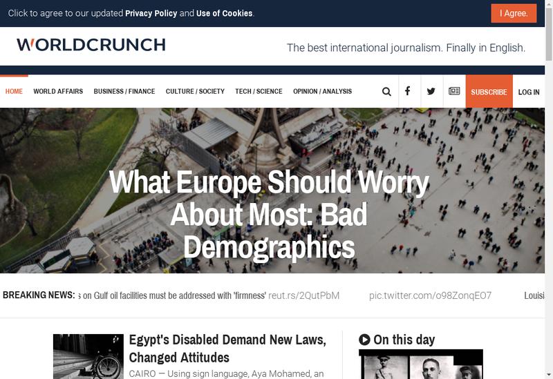 Capture d'écran du site de Worldcrunch