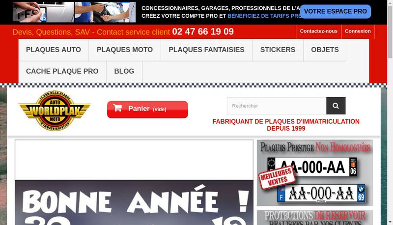 Capture d'écran du site de Europlaques Plakauto