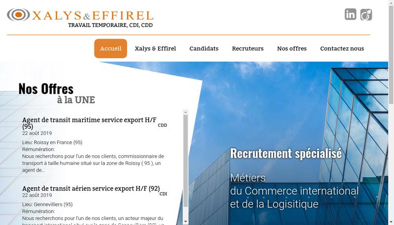 Capture d'écran du site de Xalys Interim