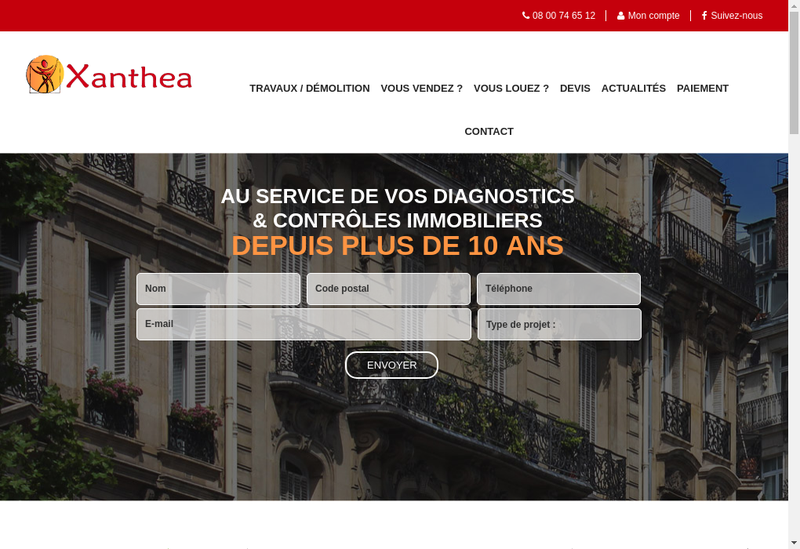 Capture d'écran du site de Xanthea
