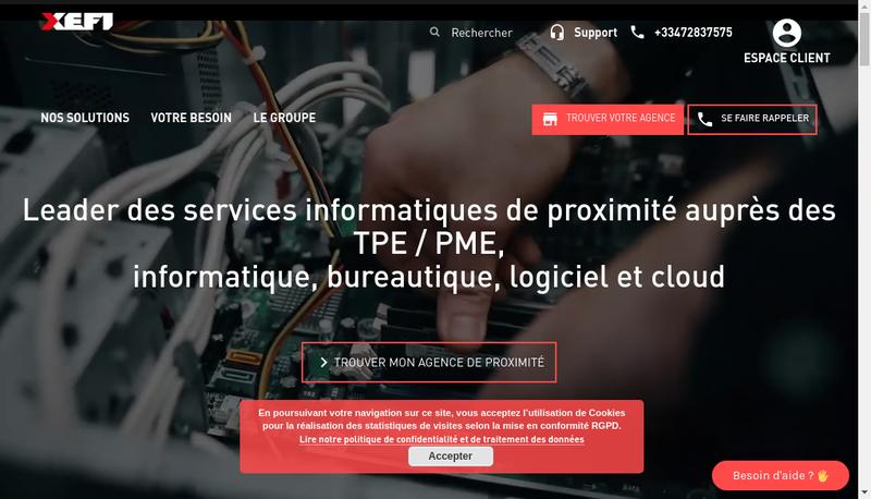 Capture d'écran du site de XEFI