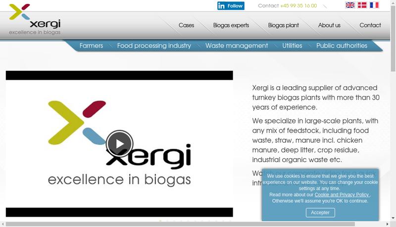 Capture d'écran du site de Xergi