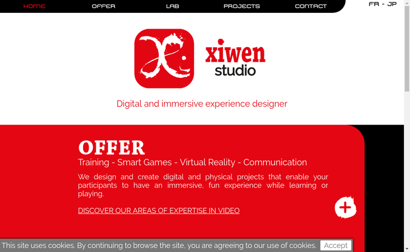 Capture d'écran du site de Xiwen Games