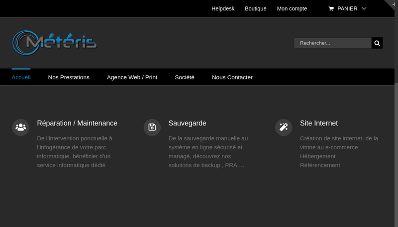 Capture d'écran du site de Meteris