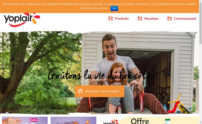 Capture d'écran du site de Yoplait