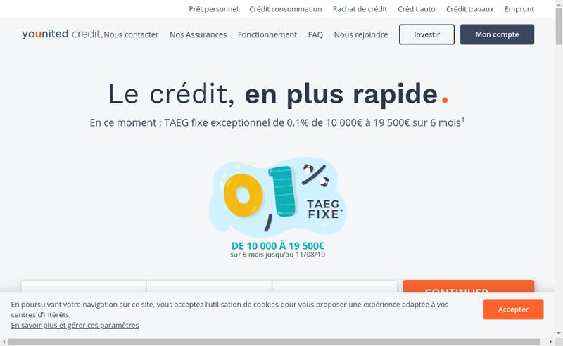 Capture d'écran du site de Younited Credit
