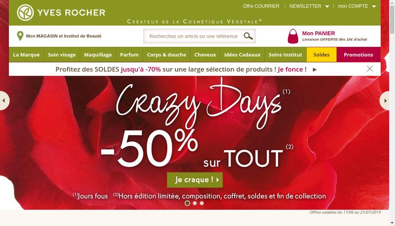 Capture d'écran du site de Yves Rocher