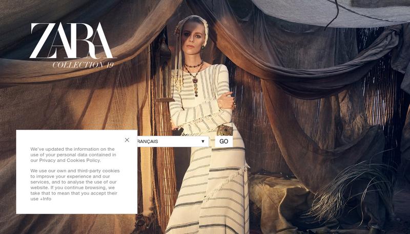 Capture d'écran du site de Zara France