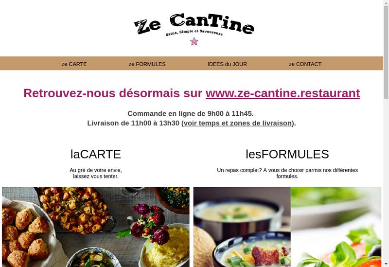 Capture d'écran du site de Ze Cantine