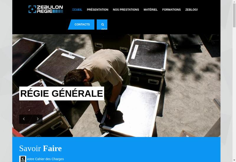 Capture d'écran du site de Zebulon Regie