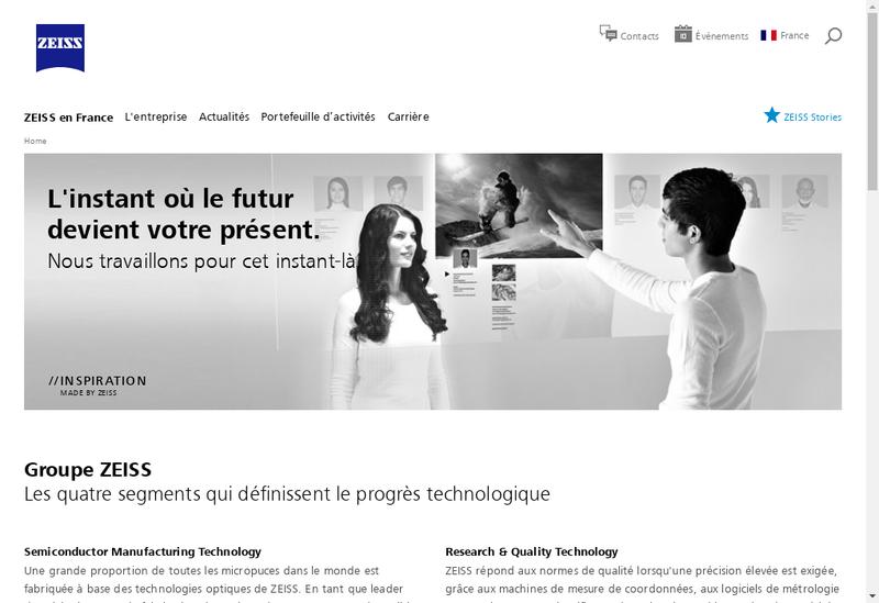 Capture d'écran du site de Carl Zeiss Vision