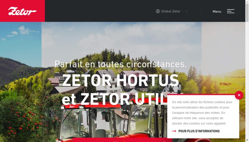 Capture d'écran du site de Zetor France