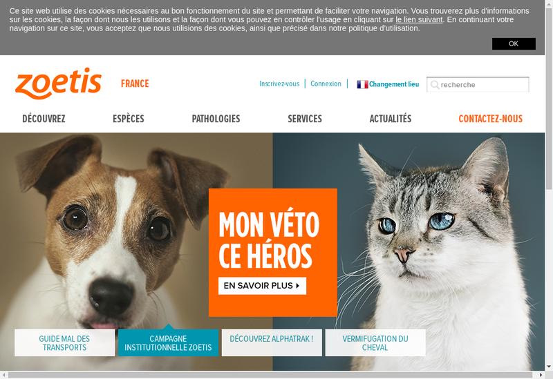Capture d'écran du site de Zoetis International Services