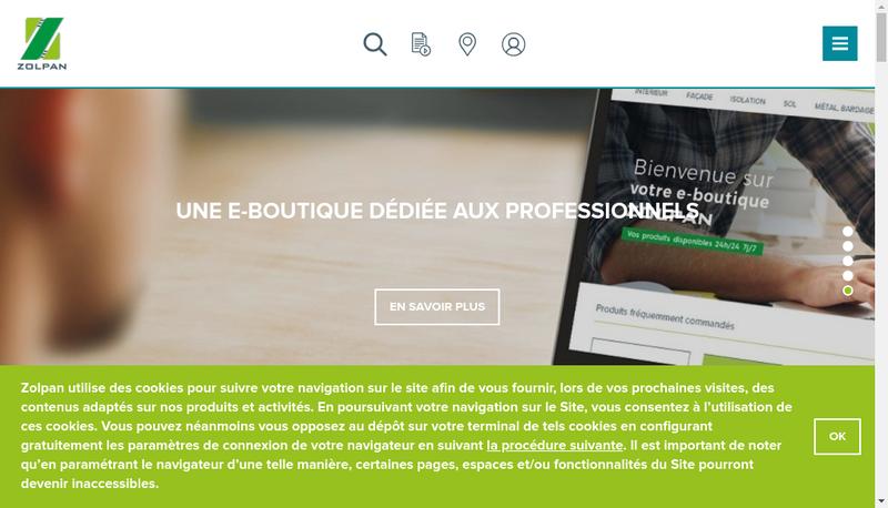 Capture d'écran du site de Zolpan SAS