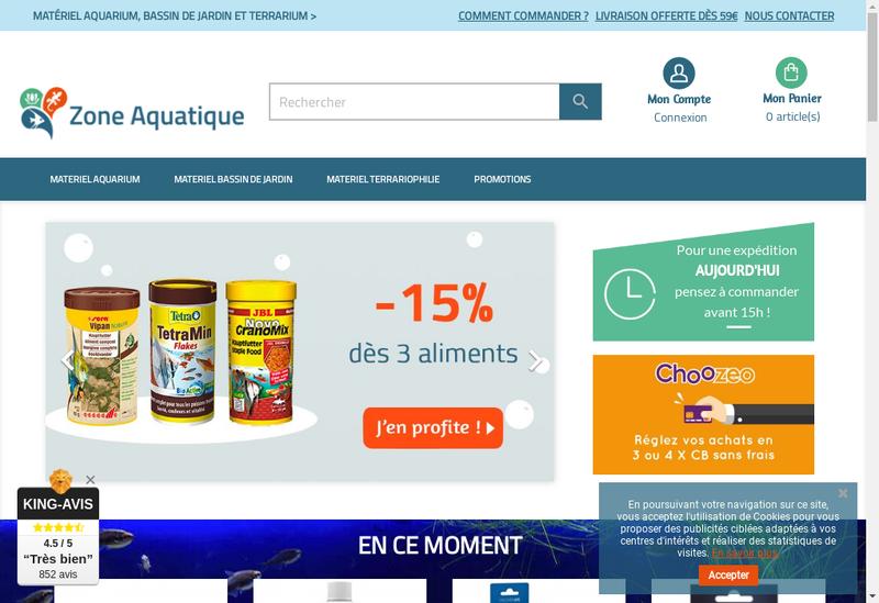 Capture d'écran du site de Zone Aquatique