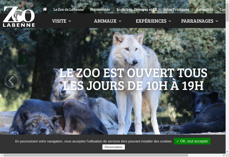 Capture d'écran du site de Zoo de Labenne