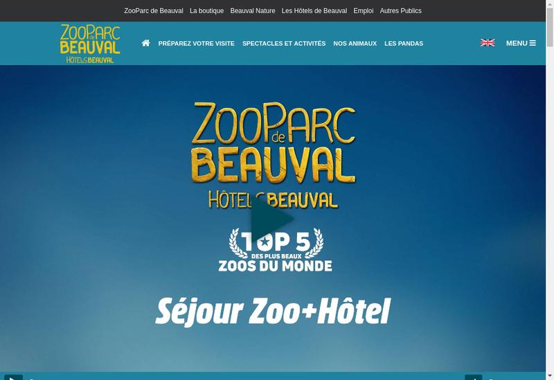 Capture d'écran du site de Zoo Parc de Beauval