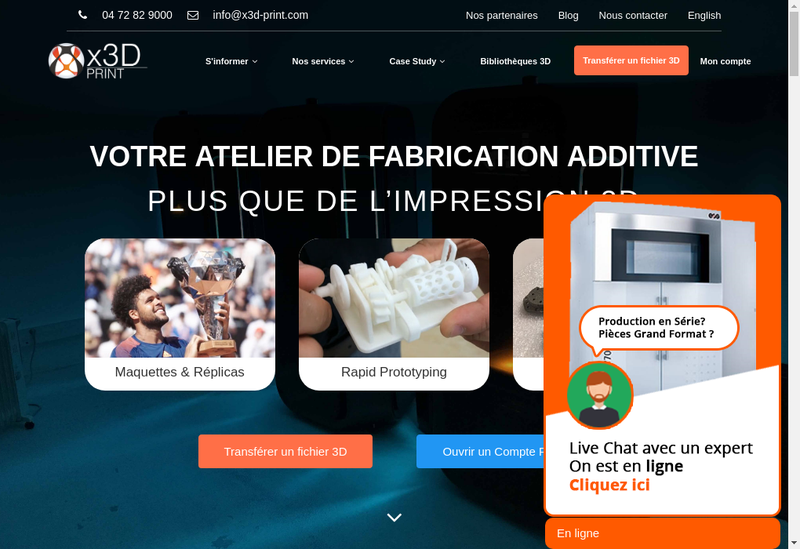 Capture d'écran du site de X3D Group