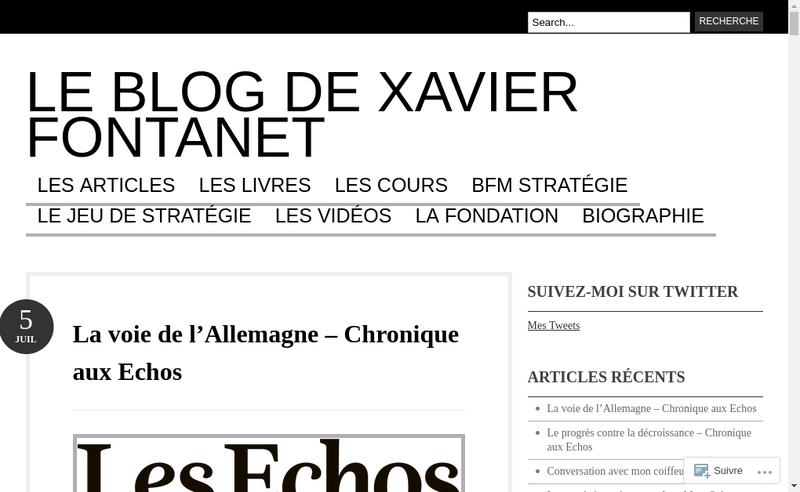 Capture d'écran du site de Fontanet Xavier