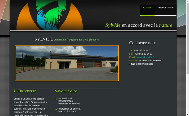 Capture d'écran du site de Sylvide