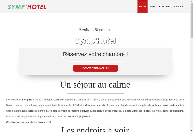 Capture d'écran du site de Symp'Hotel
