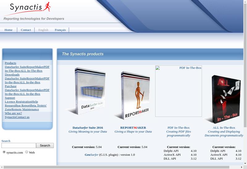Capture d'écran du site de Synactis