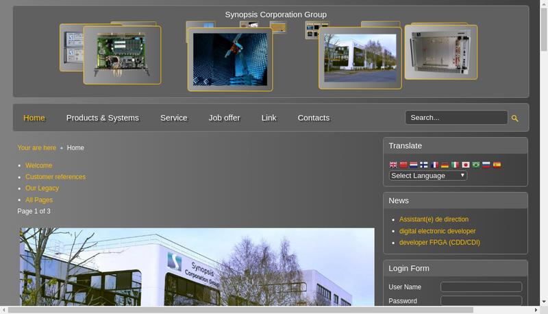 Capture d'écran du site de Synopsis Technologies