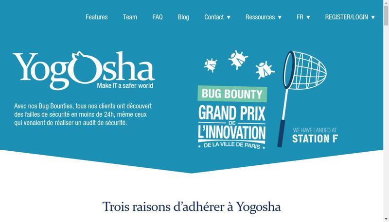Capture d'écran du site de Yogosha