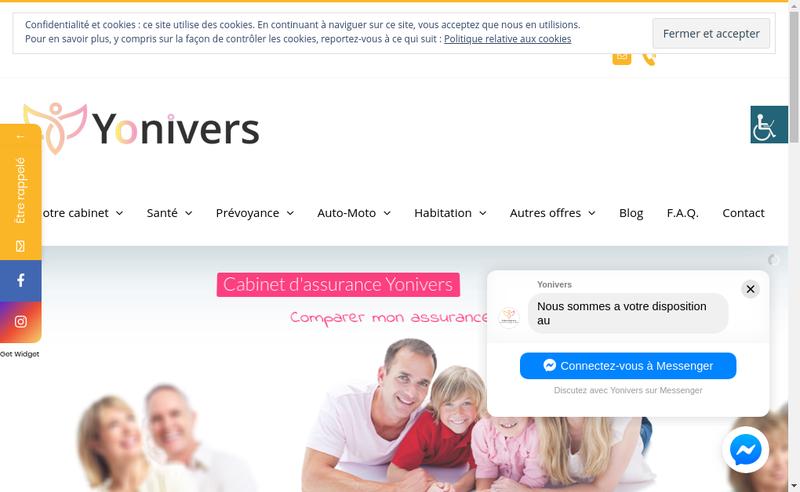 Capture d'écran du site de Yonivers