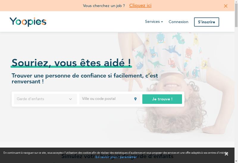 Capture d'écran du site de Yoopies