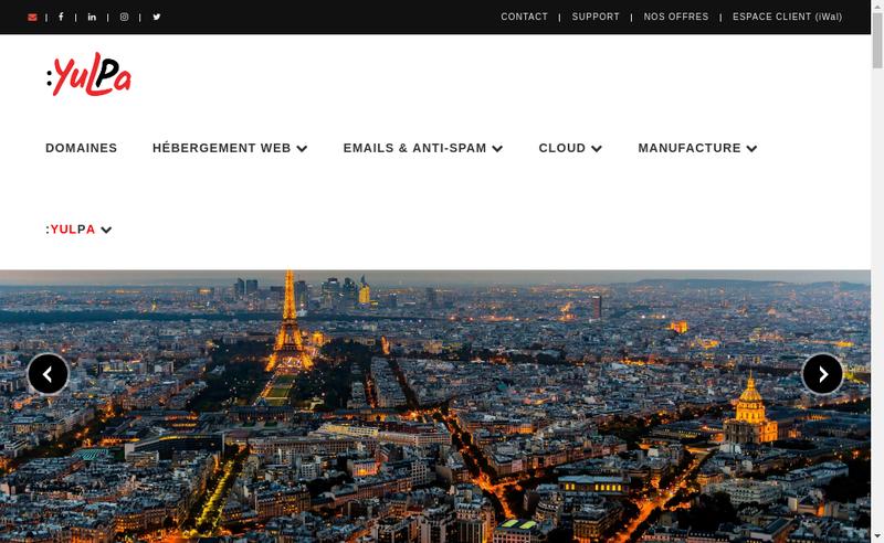 Capture d'écran du site de Yulpa
