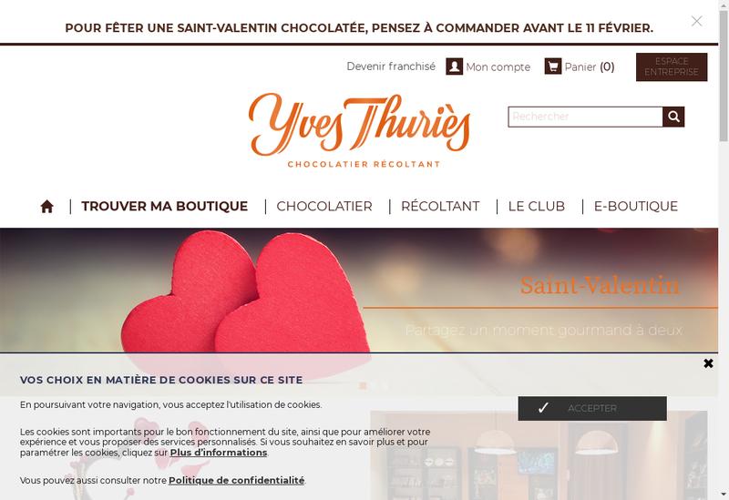 Capture d'écran du site de L'Artisan du Chocolat