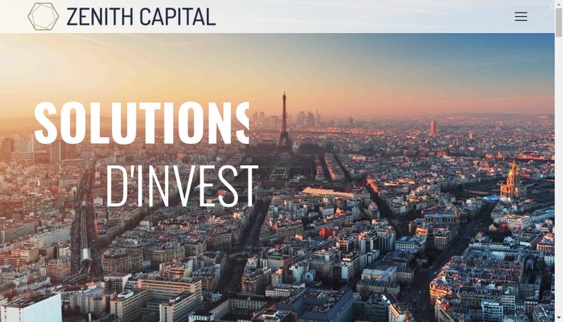 Capture d'écran du site de Zenith Capital