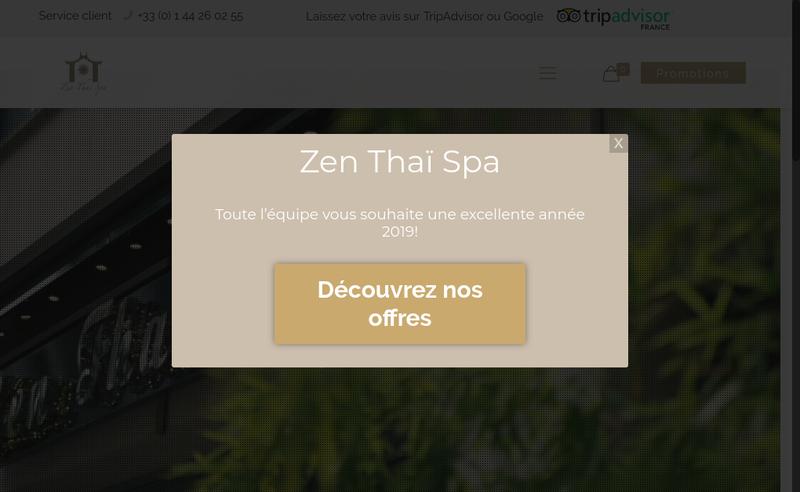 Capture d'écran du site de Zen Thai Spa