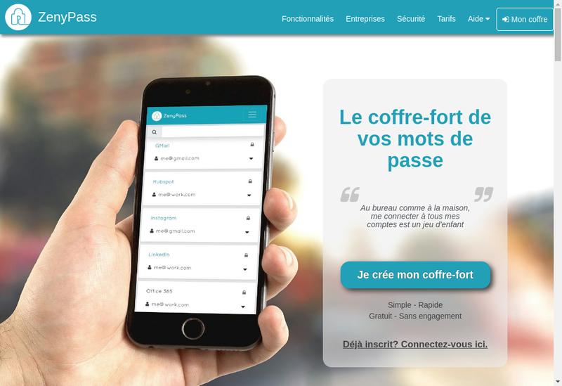 Capture d'écran du site de Zenyway