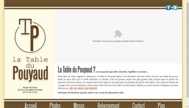 Capture d'écran du site de La Table du Pouyaud