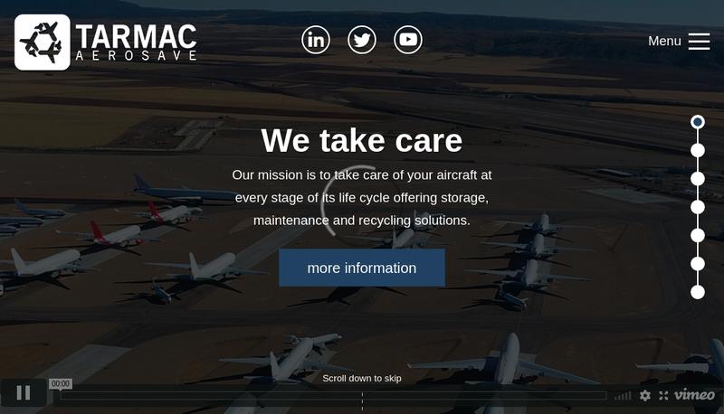 Capture d'écran du site de Tarmac Aerosave
