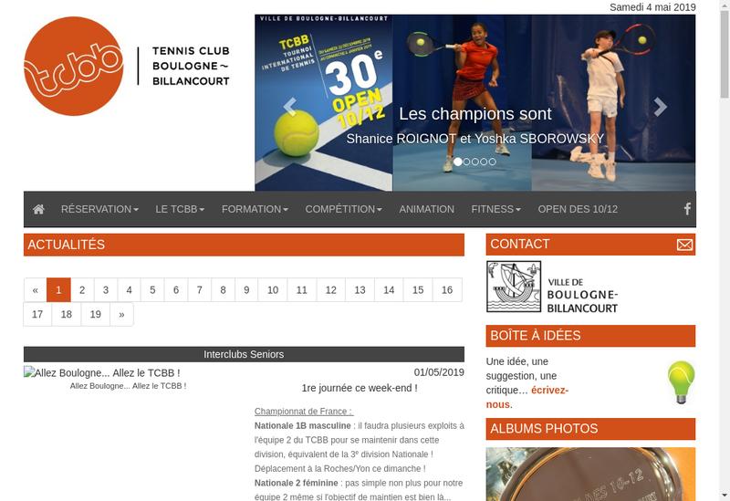 Capture d'écran du site de Tennis Club de Boulogne Billancourt
