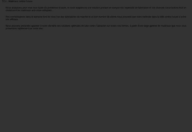 Capture d'écran du site de Tcu Techniques Contre l'Usure