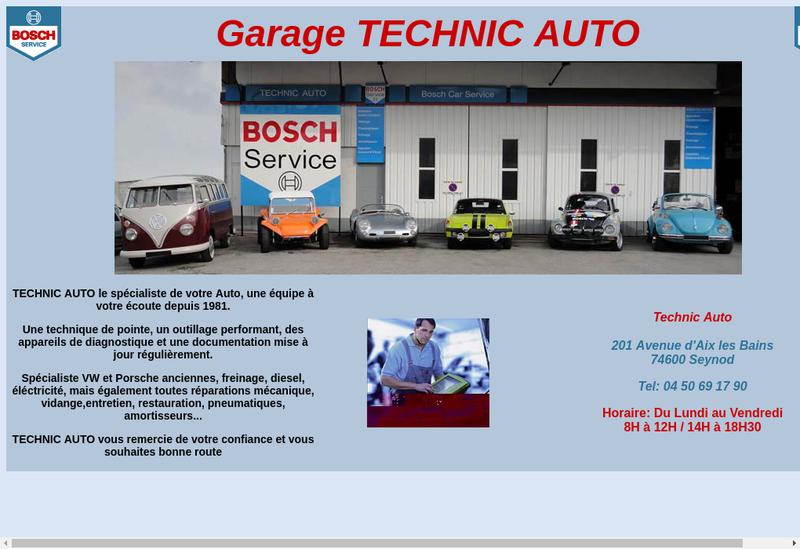 Capture d'écran du site de Technic Fusion