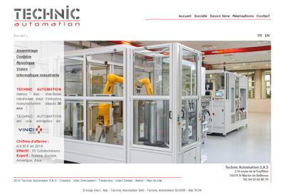 Capture d'écran du site de SAS Technic Automation